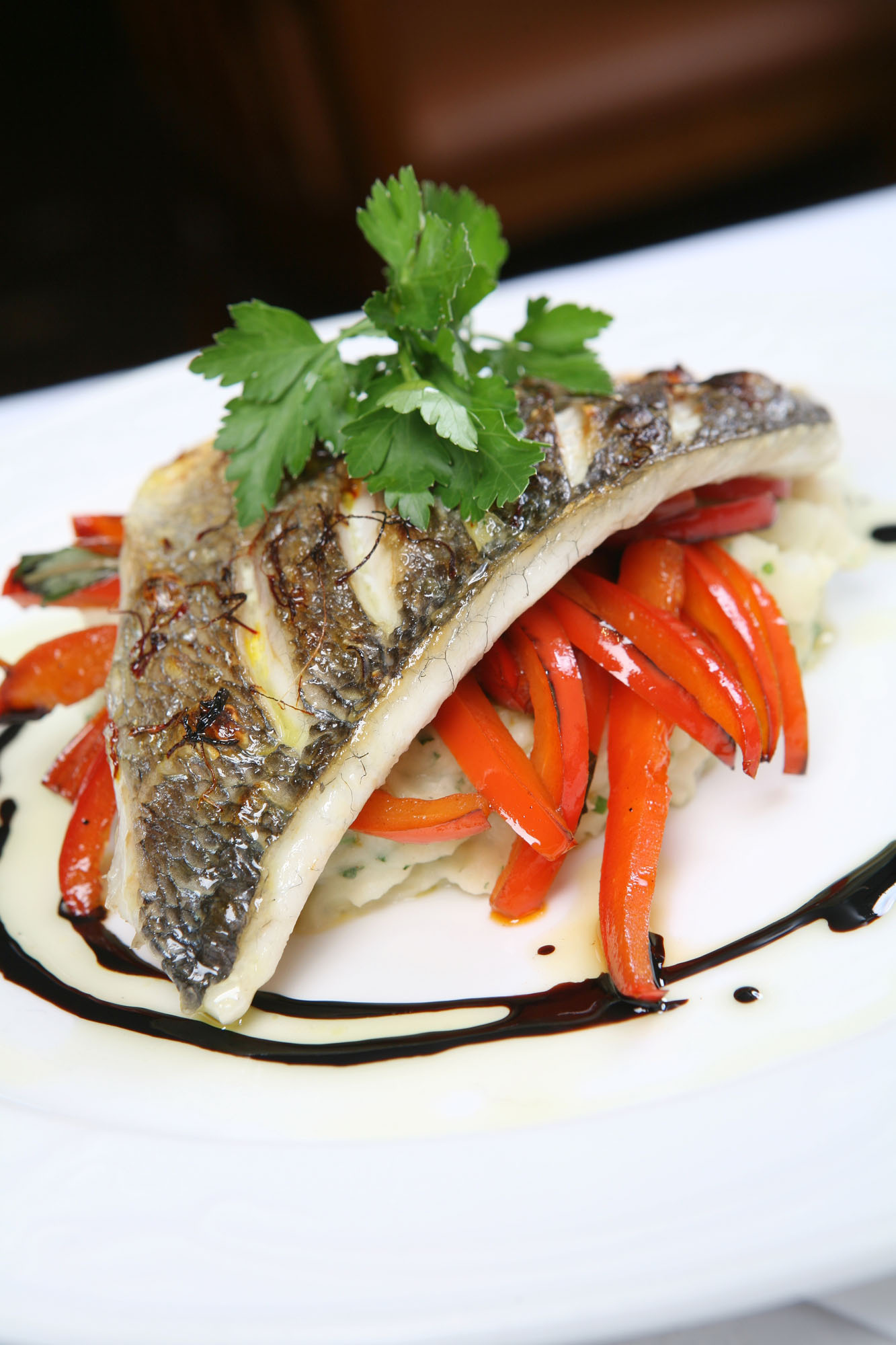 sea-bream-roasted-red-peppers-brandard-mash-potatoes-balsamic-dressing